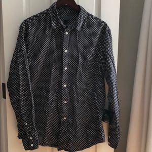 Men's John Varvatos black/white dots button shirt